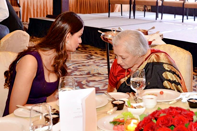 Photo with Aditi Arya, Miss India and Jaya Kamlani at the Bharat Samman Award ceremony at Leela Palace, Delhi India.