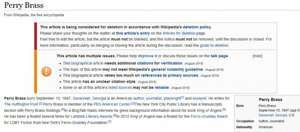 Screenshot of the article about Perry Brass on Wikipedia